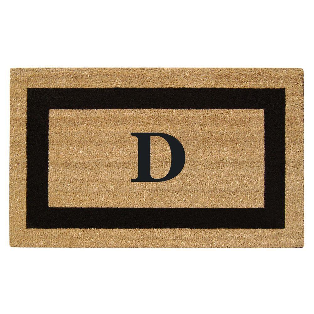 Creative Accents Single Picture Frame Black 22 in. x 36 in. HeavyDuty SuperScraper Vinyl Coir Monogrammed D Door Mat