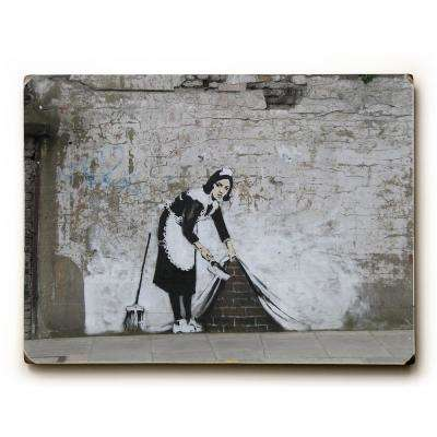"9 in. x 12 in. ""Under The Rug"" by Banksy Solid Wood Wall Art"