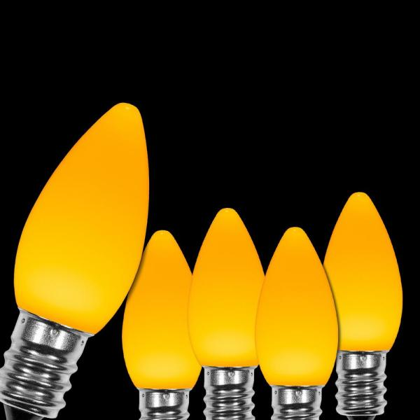 OptiCore C7 LED Gold Smooth/Opaque Christmas Light Bulbs (25-Pack)