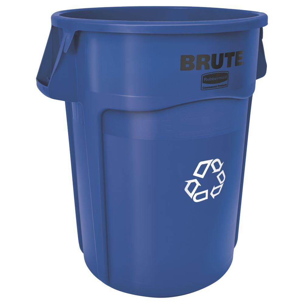 Rubbermaid Commercial Products Brute 32 Gal. Blue Vented Recycling Waste Container