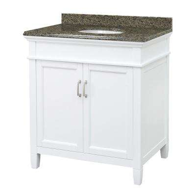 Ashburn 31 in W x 22 in D Vanity in White with Granite Vanity Top in Quadro with White Sink