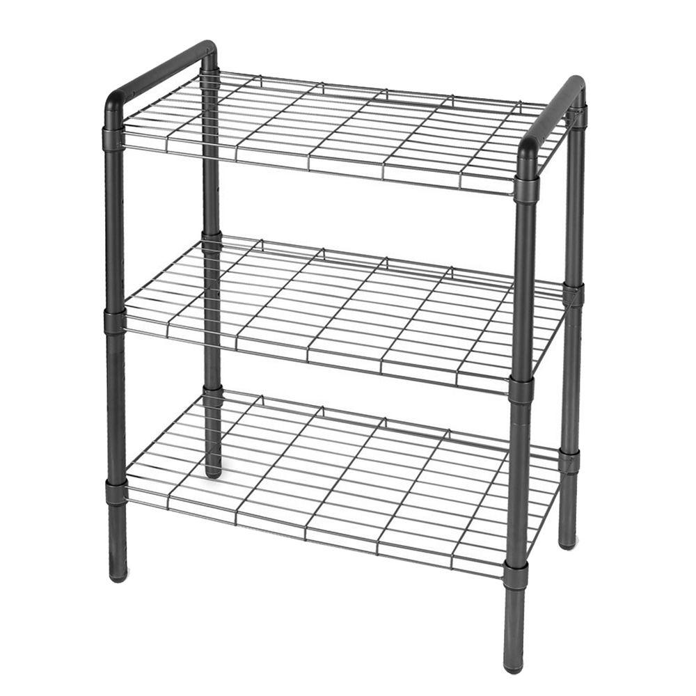 The Art of Storage 23 in. 3 Tier Adjustable Wire Shelving with Extra Connectors For Stacking Black