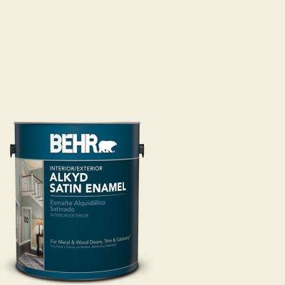 1 gal. #GR-W1 White Wool Satin Enamel Alkyd Interior/Exterior Paint