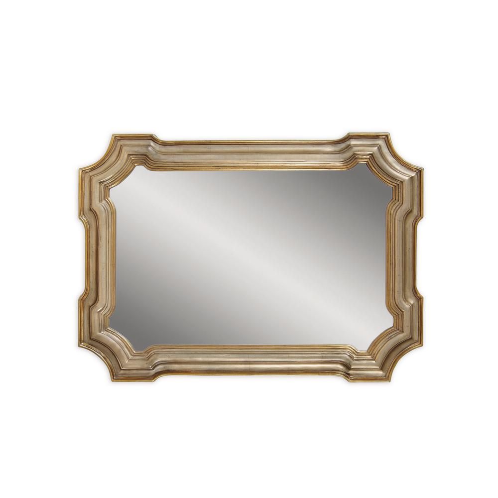 BASSETT MIRROR COMPANY Angelica Decorative Wall Mirror Beveled glass and a concentric patterned frame make our Angelica wall mirror an exquisite piece to hang over any dresser or console table. Its silver/gold finish and unique shape make this piece a work of art. This mirror can be used in many room settings.