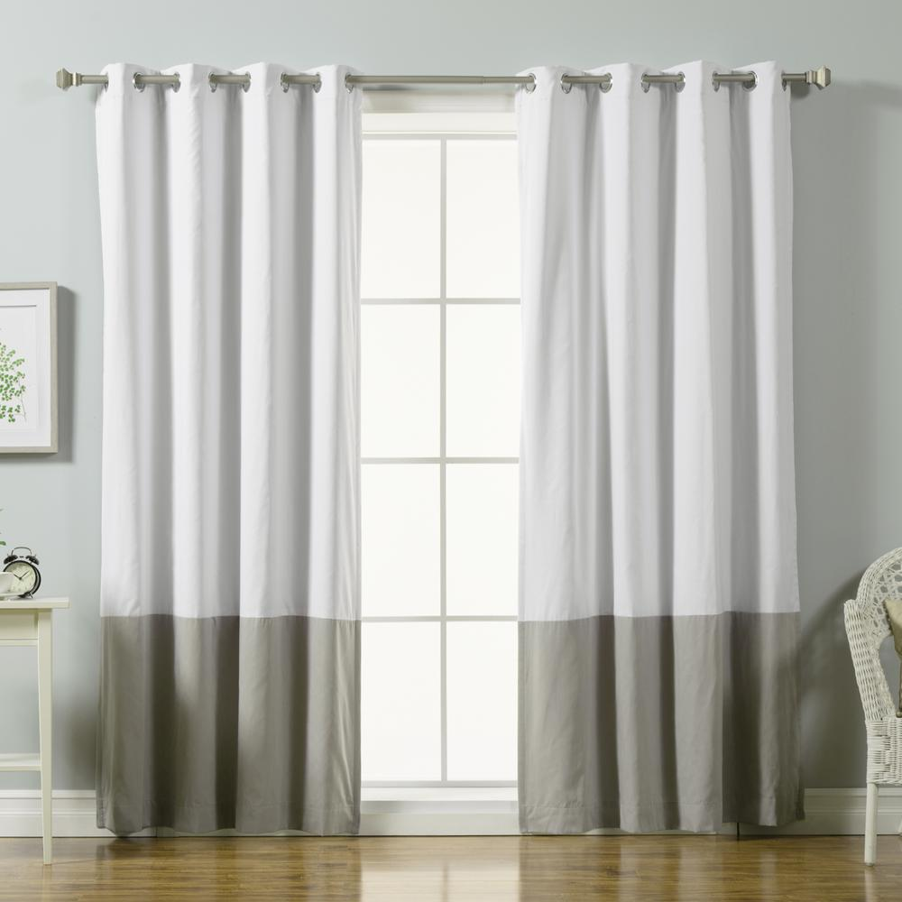 Best Home Fashion 84 In L Grey Color Block Cotton Blend