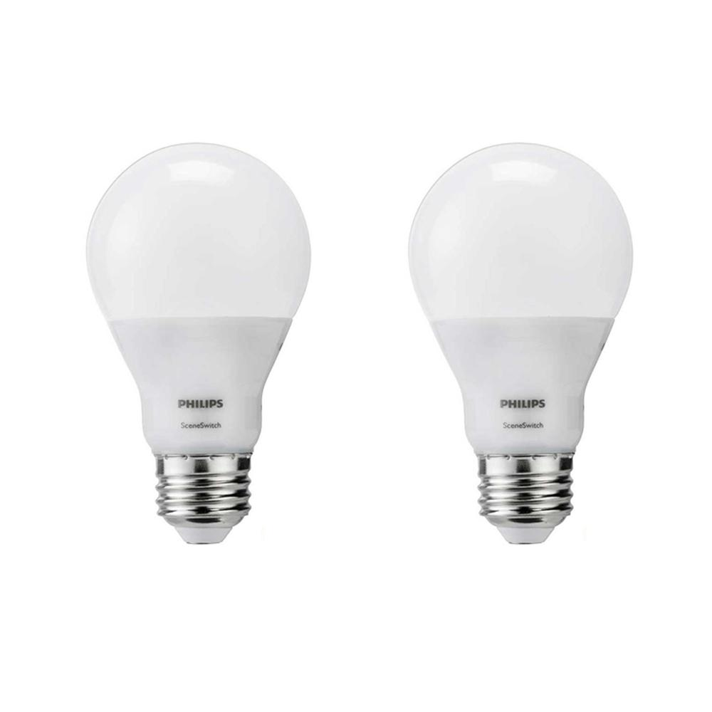 philips 60 watt equivalent a19 led sceneswitch light bulb soft white daylight warm glow 2 pack. Black Bedroom Furniture Sets. Home Design Ideas