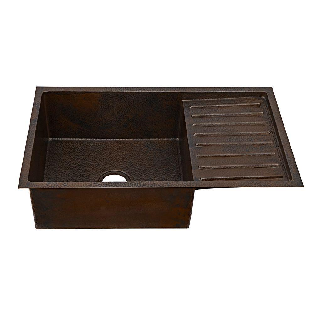 Klee Undermount Handmade Solid Copper Sink 33 in. 0 hole Drain Board Single bowl Kitchen Sink in Aged Copper