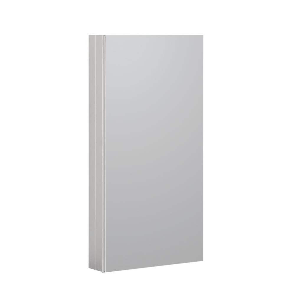Reflections 15 in. W x 36 in. H Recessed or Surface Mount Medicine Cabinet in Satin Nickel