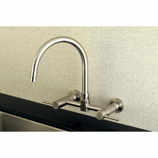 Kingston Brass Concord 2 Handle Wall Mount Standard Kitchen Faucet In Brushed Nickel Hks8178dl The Home Depot