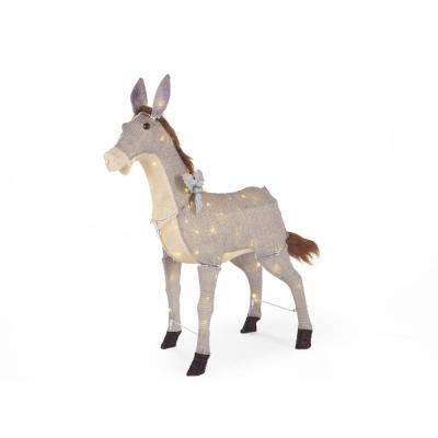 31 in. LED Lighted Tinsel Donkey