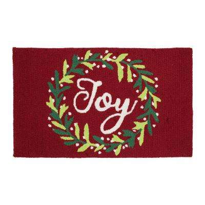 Joy Wreath 18 in. x 30 in. Handhooked Holiday Rug