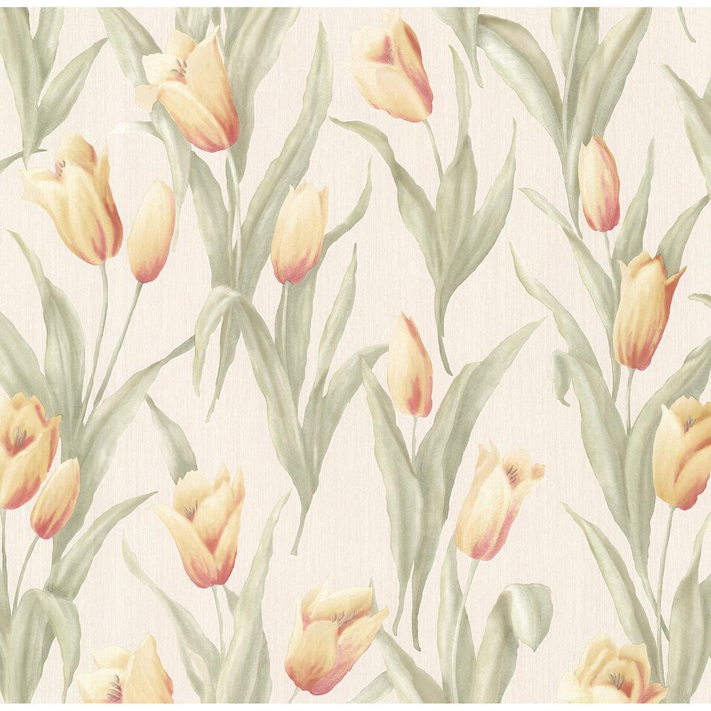 Denning Yellow Satin Tulip Texture Wallpaper Sample