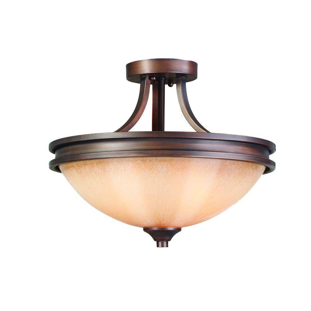 Glomar SemiFlushmount Lights Lighting The Home Depot - Kitchen semi flush mount lighting