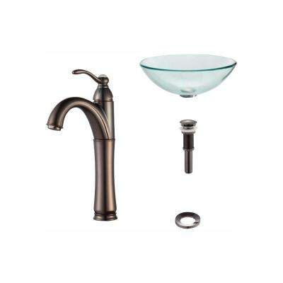 Glass Vessel Sink in Clear with Riviera Faucet in Oil Rubbed Bronze