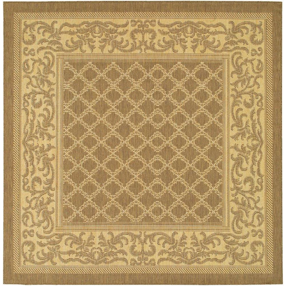 Couristan Recife Garden Lattice Cocoa Natural 8 ft. 6 in. x 8 ft. 6 in. Square Area Rug