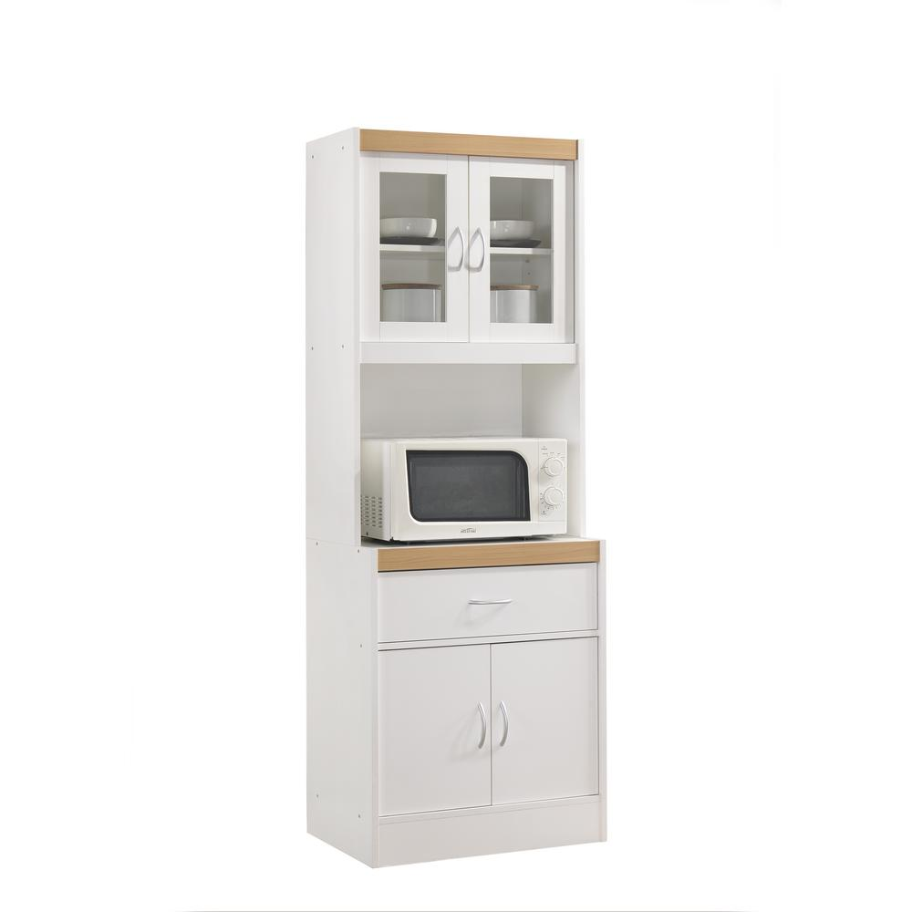 Charmant Hodedah China Cabinet White With Microwave Shelf