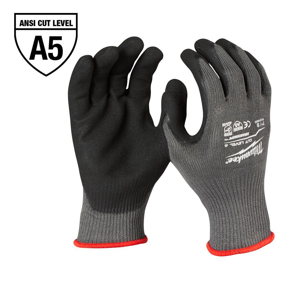 Medium Gray Nitrile Level 5 Cut Resistant Dipped Work Gloves
