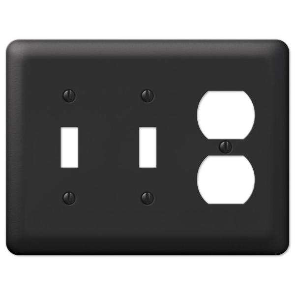 Declan 3 Gang 2-Toggle and 1-Duplex Steel Wall Plate - Black