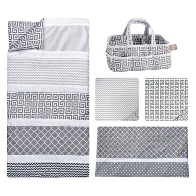 Ombre Gray 5-Piece Polyester Crib Bedding Set