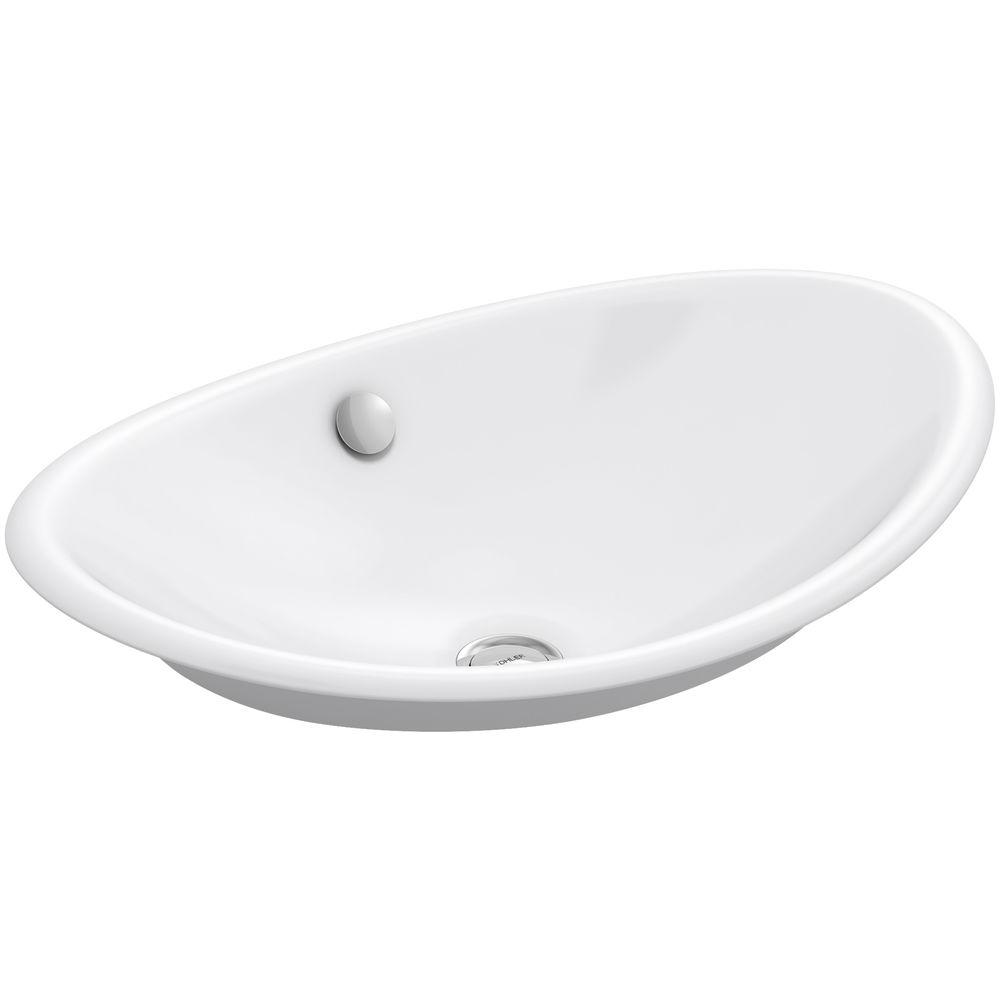 Kohler Iron Plains Cast Vessel Sink In White With Painted Underside Overflow Drain