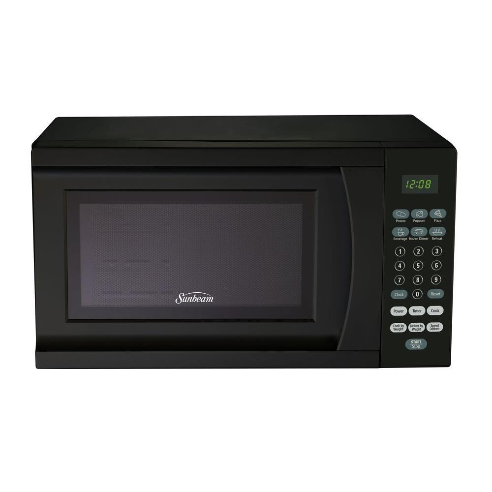 Sunbeam 0 7 Cu Ft 700 Watt Countertop Microwave In Black Sgs90701b B The Home Depot