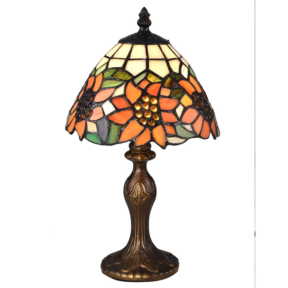 Springdale Lighting 14 in. Discovery Antique Bronze Table Lamp with Tiffany Art Glass Shade