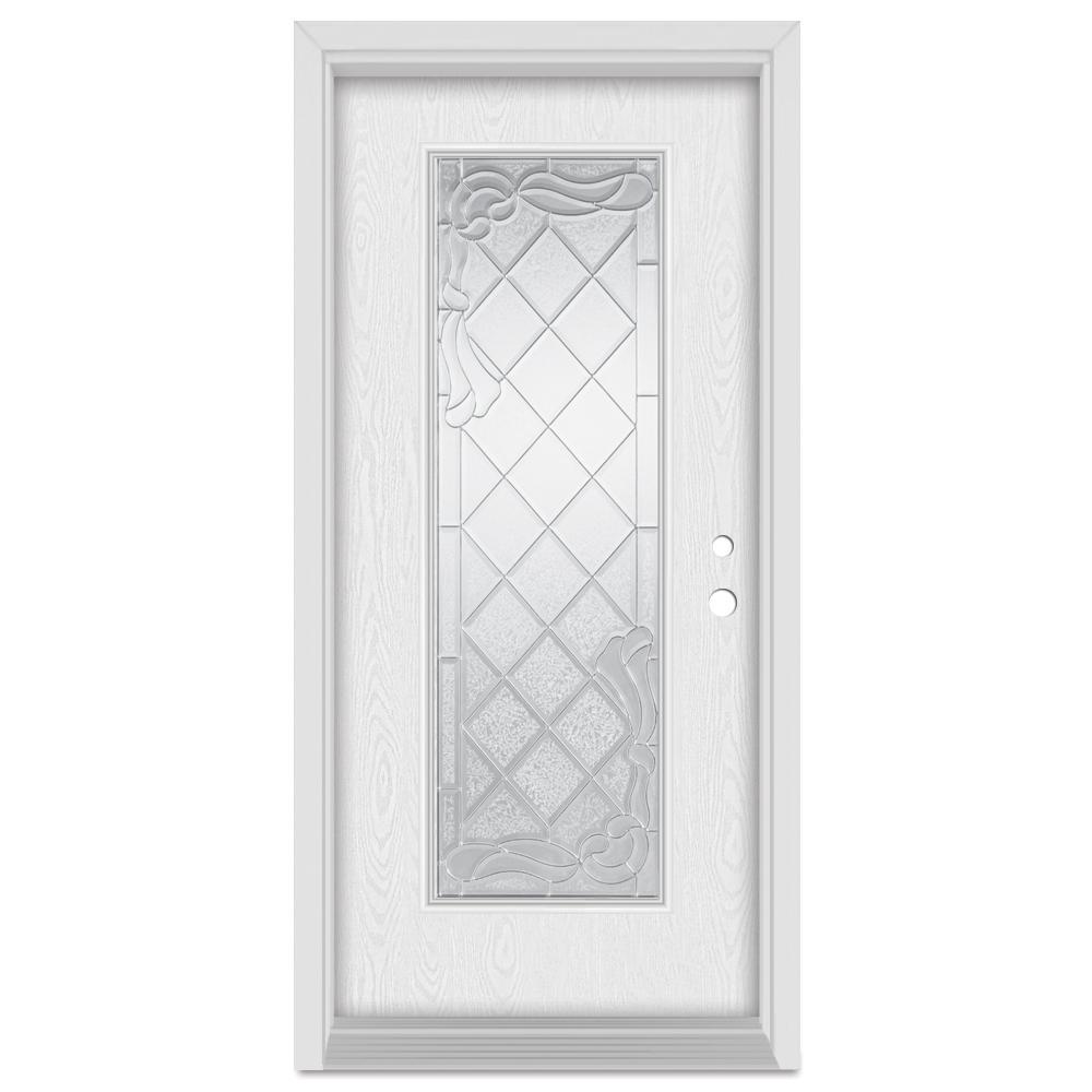 37.375 in. x 83 in. Art Deco Left-Hand Inswing Full Lite Zinc Finished Fiberglass Oak Woodgrain Prehung Front Door