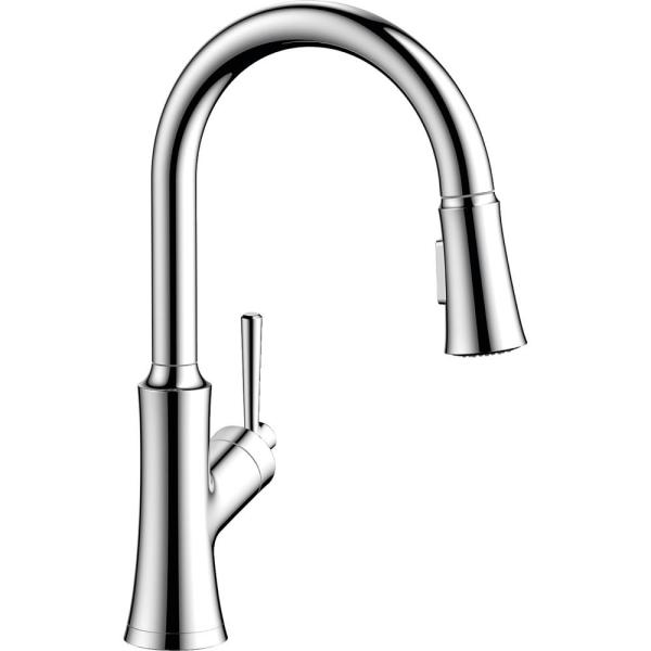Joleena Single-Handle Pull-Down Sprayer Kitchen Faucet in Chrome