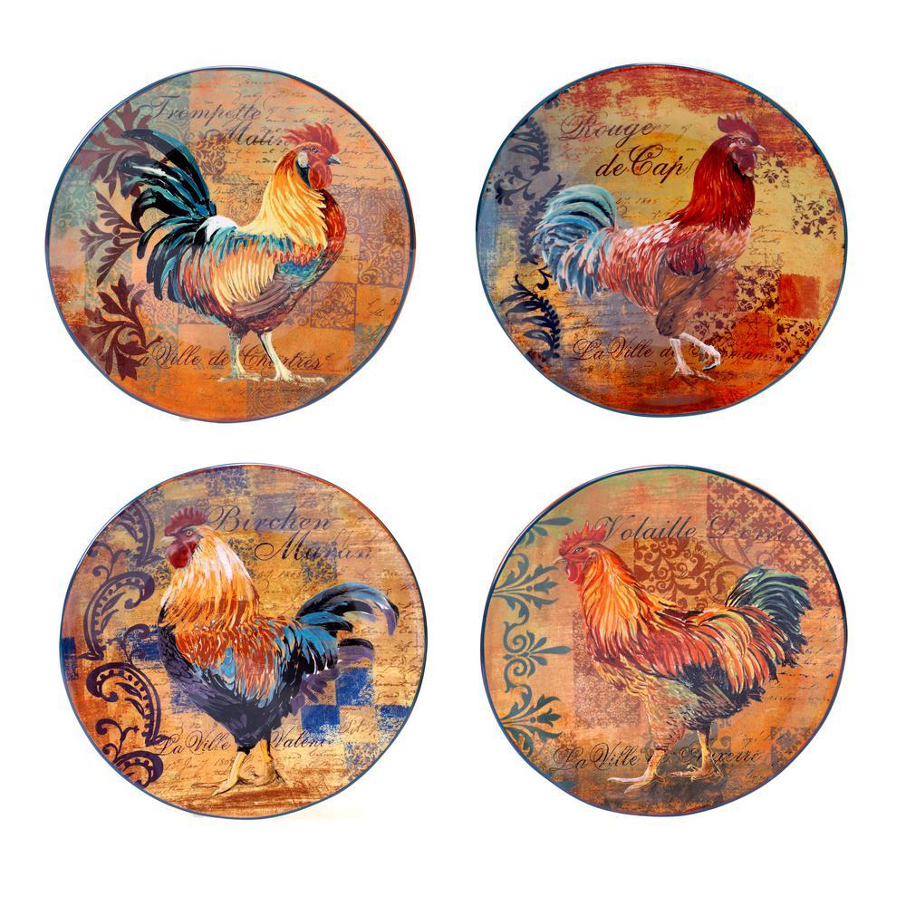Certified International Rustic Rooster Dinner Plate Set