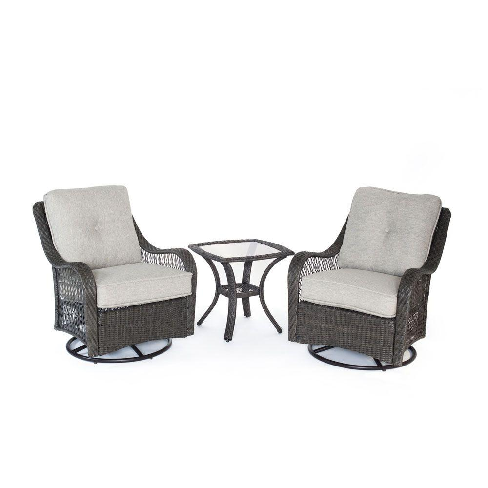 Orleans Grey 3-Piece All-Weather Wicker Patio Swivel Rocking Chat Set with