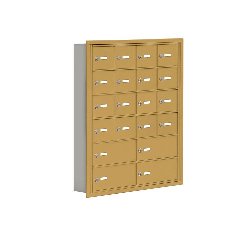Salsbury Industries 19000 Series 30.5 in. W x 36.5 in. H x 5.75 in. D 16 A/4 B Doors R-Mount Keyed Locks Cell Phone Locker in Gold