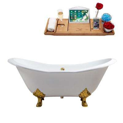61 in. Cast Iron Clawfoot Non-Whirlpool Bathtub in White