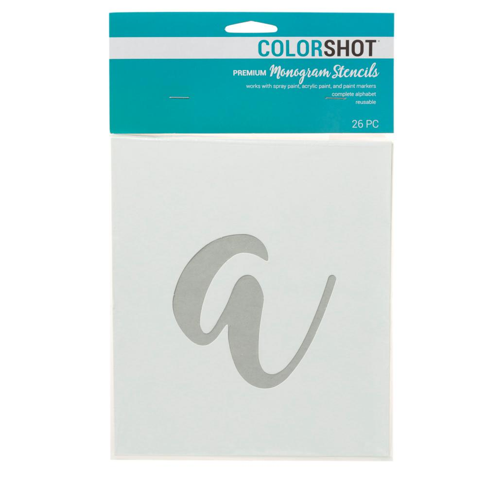 COLORSHOT Lower Case Cursive Alphabet Stencil (Set of 26)