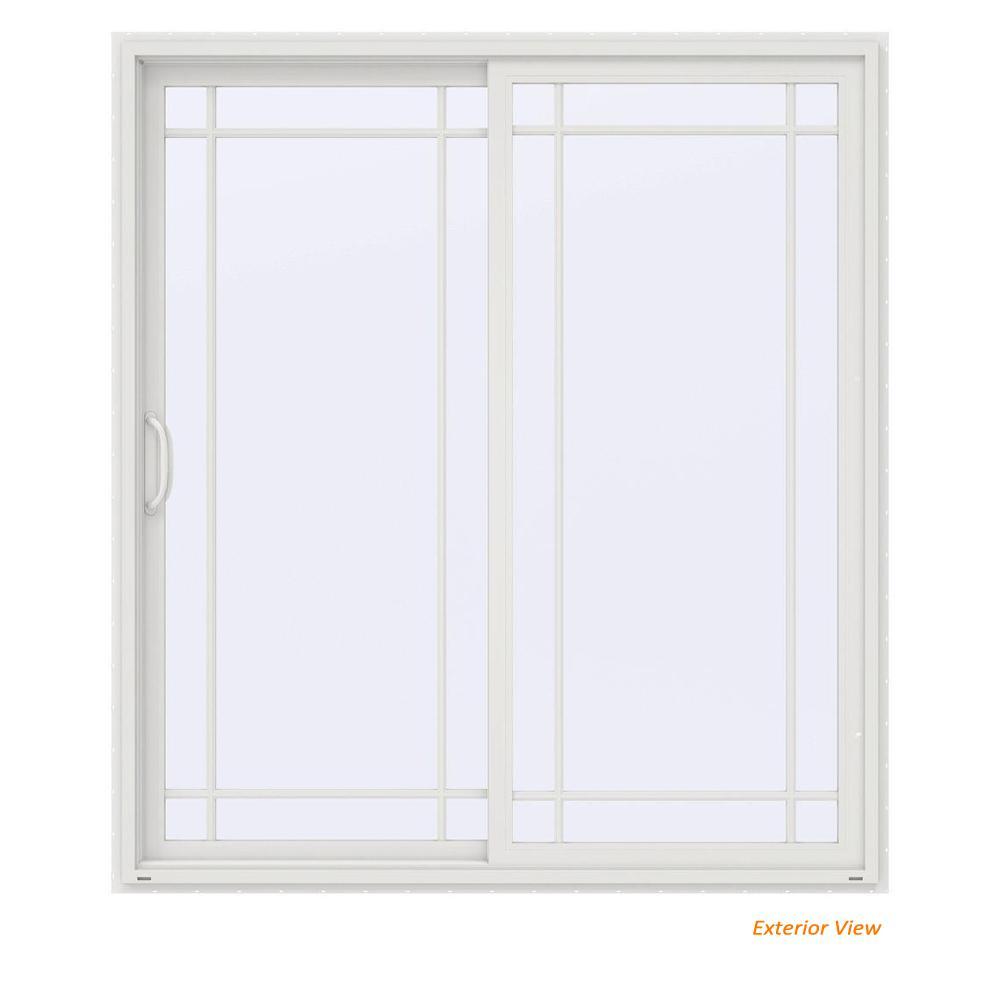 72 in. x 80 in. V-4500 Contemporary White Vinyl Left-Hand 9 Lite Sliding Patio Door