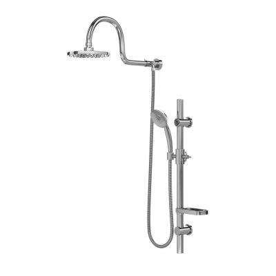 Aqua 3-Spray Hand Shower and Shower Head Combo Kit with Wall Bar Shower Kit in Chrome Finish
