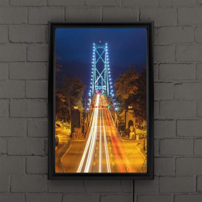 """""""Lions Gate"""" by Pierre Leclerc Framed with LED Light Architecture Wall Art 24 in. x 16 in."""