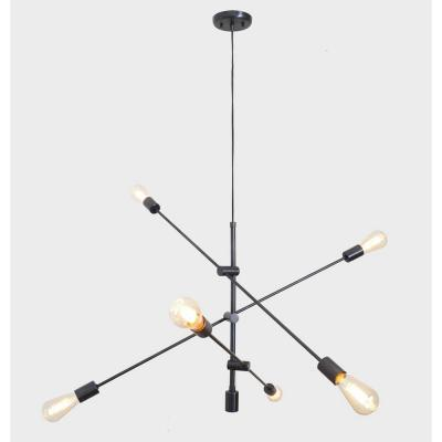 6-Light Black Unique Modern Linear Chandelier Pendant