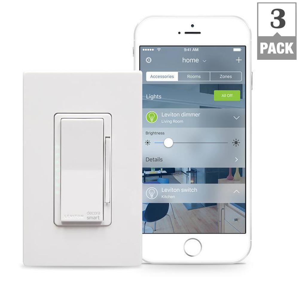 Decora Smart 600-Watt with HomeKit Technology Dimmer, Works with Siri (3-Pack)