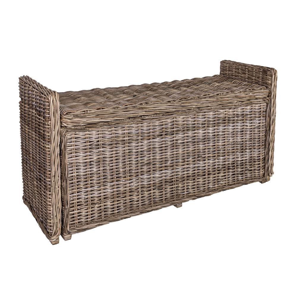 "Naples 47.50"" Wicker Trunk Storage Bench, Gray"