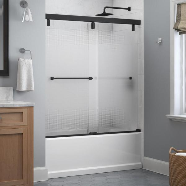 Everly 60 in. x 59-1/4 in. Mod Semi-Frameless Sliding Bathtub Door in Matte Black and 1/4 in. (6mm) Droplet Glass