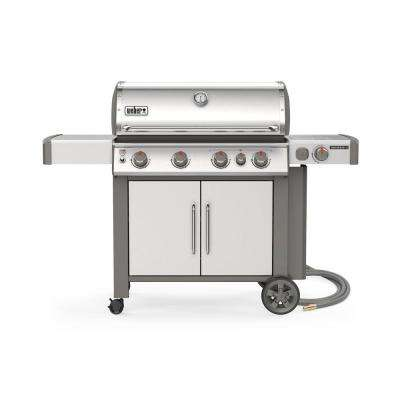 Genesis II S-435 4-Burner Natural Gas Grill in Stainless with Built-In Thermometer and Side Burner