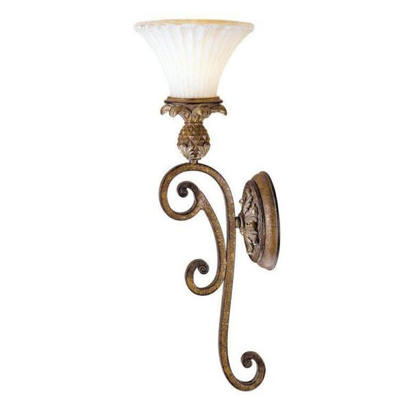 1-Light Venetian Patina Wall Sconce with Vintage Carved Scavo Glass