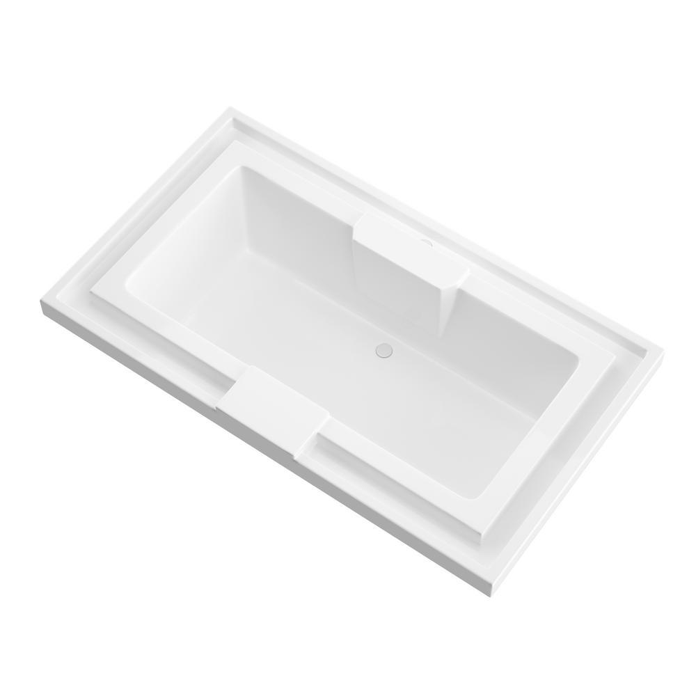 Universal Tubs Opal 6.5 ft. Acrylic  Rectangular Drop-in Non-Whirlpool Bathtub in White
