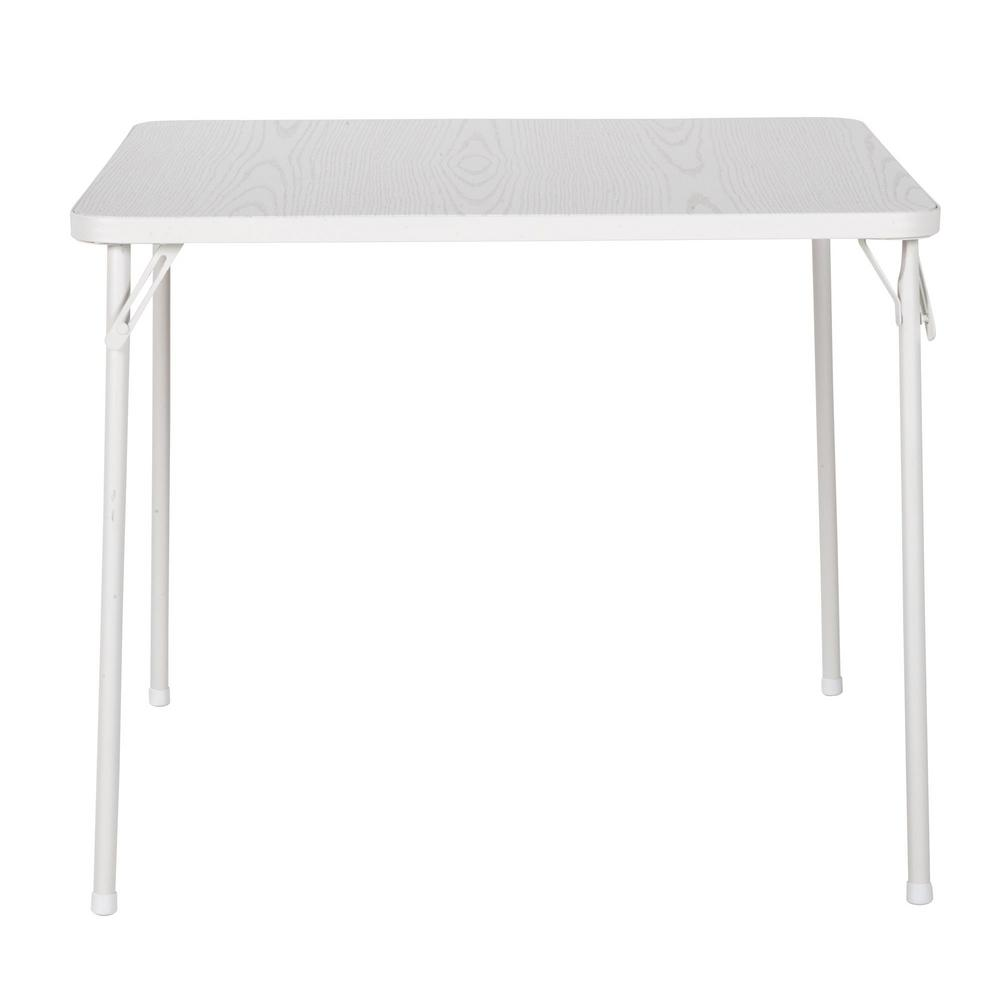 Cosco White Wood Grain Resin 34 In Square Folding Table