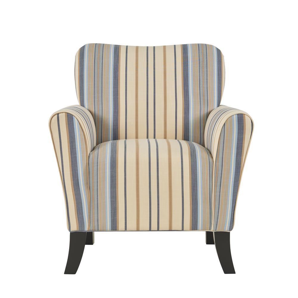 Sasha Blue Stripe Flared Arm Chair