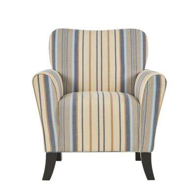 Sasha Blue Stripe Flared Arm Chair