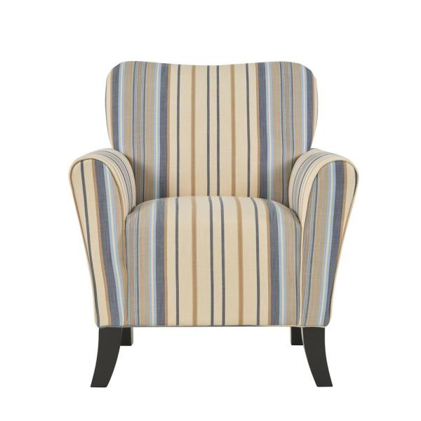 Beige Accent Chairs With Blue Stripes.Handy Living Sasha Blue Stripe Flared Arm Chair B340c Yst59 103