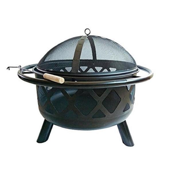 30 in. x 24 in. Round Steel Wood Burning Outdoor Fire Pit in Black