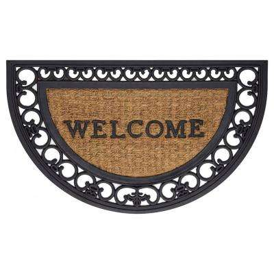 Fleur De Lis Slice 18 in. x 30 in. Wrought Iron Rubber Floor Mat