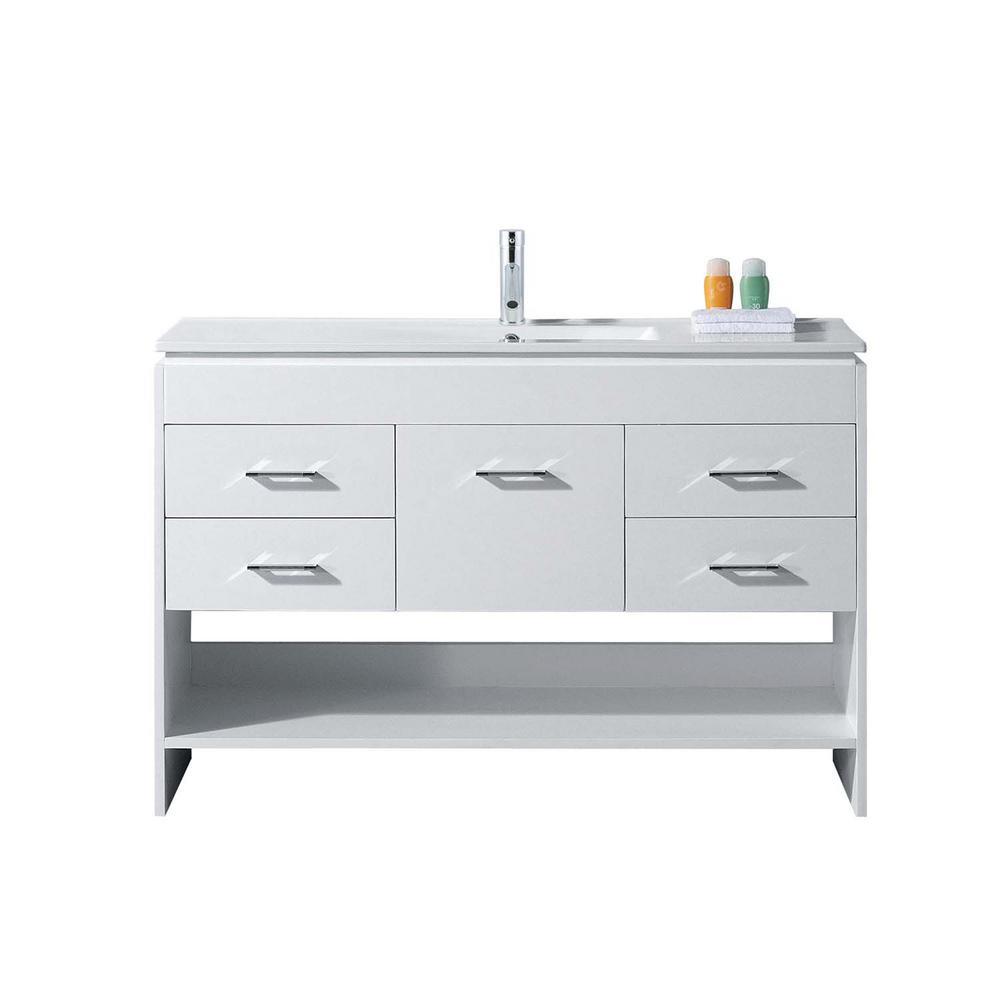 Virtu USA Gloria 48 in. W Bath Vanity in White with Ceramic Vanity Top in Slim White Ceramic with Square Basin